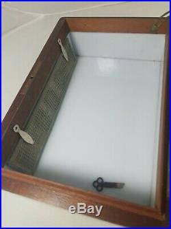 Antique Humidor Cigar Box Milk Glass Lined Vintage Nice