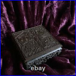 Antique Hungary King Queen Play Royal Card Game Horse Bronze Wood Box Art Deco