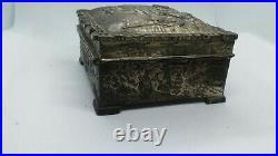 Antique Japan ornate silver plate brass figural dresser cigar humidor vanity box