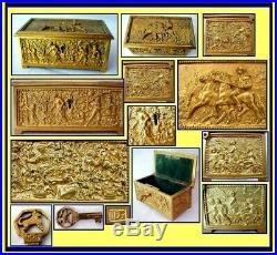 Antique Jewelry Cigar Box Gilt Bronze Ormolu Humidor Relief Sculpture (1161)