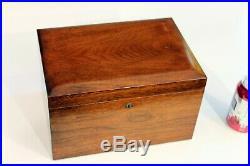Antique Mahogany Box Cigar Humidor Benson & Hedges Milk Glass Lined