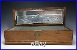 Antique Marquetry Humidor Tobacco Cigar Box Handmade Wooden Inlaid