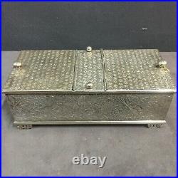 Antique Meriden Quadruple Silver Plate Humidor Box Case