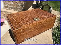 Antique Oak Humidor Lincoln Nebraska Storys Cigar Store Vintage Smoking Box