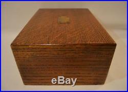 Antique Oak Wood Cigar Humidor Box Metal & Porcelain Lined