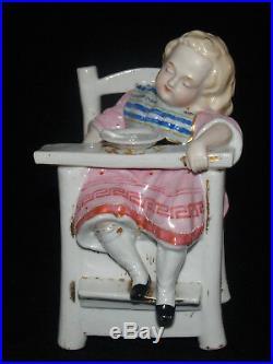 Antique Porcelain Girl Child High Chair Figural Tobacco Box Jar Humidor Fairing