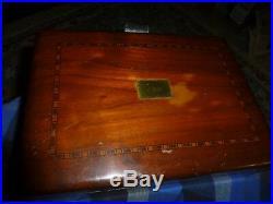 Antique Porcelain Lined Cigar Humidor Box With Mahogany Wood Inlays & JBB Monogram