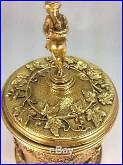Antique Rare Unique French High Relief Figurative Round Ormolu Box A. B. Paris