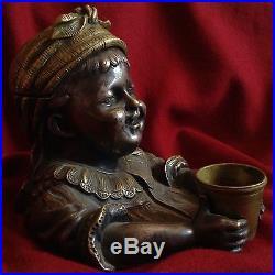 Antique Silver Bronze Pipe Tobacco Box Humidor Beggar Child Lid Top Secret Hide