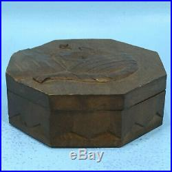 Antique Swiss Black Forest Wood Carving HUMIDOR BOX Man Smoking Pipe Relief