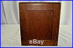 Antique Tiger Oak Large Humidor Cigar Box Milk Glass Lined