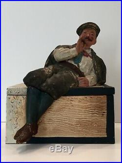 Antique Tobacco Jar Jm # 3328 Reclining Man On Cigar Box