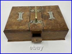 Antique Treen Smokers Companion Humidor Burr Walnut Cigar Cigarette Box Match