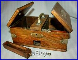Antique Victorian Oak & Brass Cigarette & Cigar box, Humidor, Lockable with key