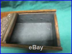 Antique Victorian Oak withornate Brass Applique Tin Lined Slide Top Cigar Box