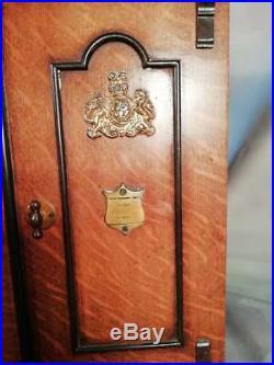 Antique Victorian Vintage Tiger Oak Cigar Humidor Smokers Cabinet Box Safe C1890