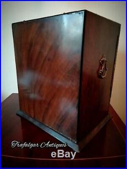 Antique Victorian Vintage Walnut Cigar Humidor Smokers Cabinet Box Safe C1890
