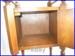 Antique Vintage Smoker Tobacco Stand Cigar Cabinet Table Humidor Wood Box Cool