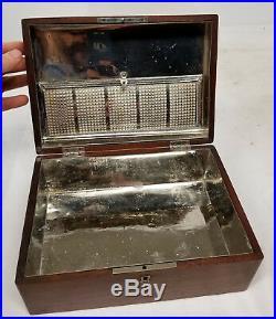 Antique Walnut Box Chest Cigar Humidor Smoking Tobacciana