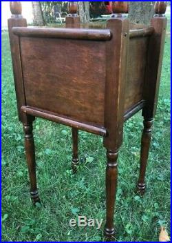 Antique Wood Copper Lined Cigar Tobacco Humidor Box Smoke Stand Cabinet Vintage