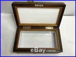 Antique Wood Inlaid Cigar Humidor Box BrassPlaque & Maker Porcelain Lined Footed