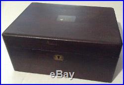 Antique Wood & Porcelain Lined Box, Humidor Cigar, Tea