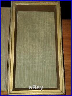 Antique Wooden Cigar Box / Humidor Lined Interior Beautifully Carved Trim