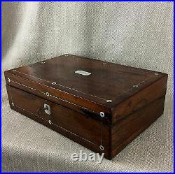 Antique cigar Humidor Victorian Rosewood Box Inlaid Mother Of Pearl