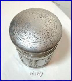 Antique hand engraved silverplate brass lidded tobacco humidor jar box container