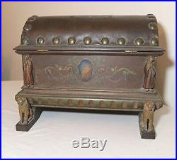 Antique handmade wood leather toleware painted cigar humidor Folk Art box trunk