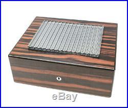 Baccarat Cut Glass & Striped Ebony Wood Humidor Cigar Box