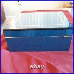 Beautiful dark blue pearl Wood Humidor Cigar Box Smoking Tobacco set