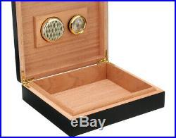 Black 25 Cigar Humidor Cedar Wood Wooden Humidifier Hygrometer Cigars Box Holder