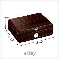 Black Cigar Humidor Gloss Piano Finish Cedar Wood Box With Humidifier 50-75 Ct