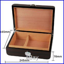 Black Gloss Piano Finish Cedar Wood Cigar Humidor Box With Humidifier 50-75 Ct