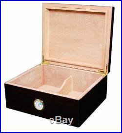 Black Walnut Rembrandt Desktop Cedar Cigar Humidor Box Holds 50 Cigars 1081