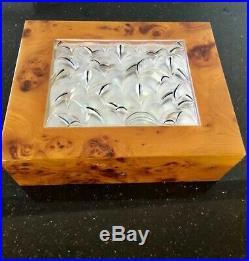 Burlwood Lalique Crystal Dunhill Madrona Cigar Humidor Original Box, Key Gauges