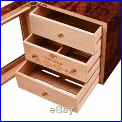 CIGARLOONG 3 Layers Cigar Humidor Box cedar Wood Lined Hygrometer Smoking Cigar