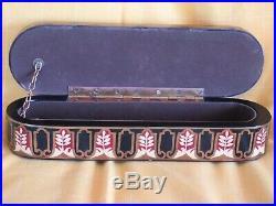 CIGAR BOX HUMIDOR Hand painted HEAVY BASE VINTAGE ANTIQUE rare unique unusual