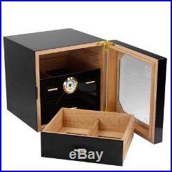 COHIBA 3-DRAWERS Cedar Cigar Humidor Case Box With Humidifier Hygrometer Black NEW