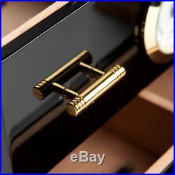 COHIBA Black Cigarette Box 3 Drawer Cabinet Cedar Cigarette Piano Baking Humidor