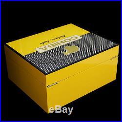 COHIBA Cedar Lined Cigar Humidor Box Ashtray Cutter Set Gift Piano Finish Yellow