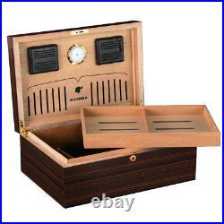 COHIBA Cedar Wood Cigar Humidor Box Glossy Spainsh Hygrometer Humidifier 80-100c