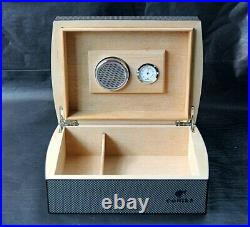 COHIBA Cigar Case Humidor Travel cedar Wood cigar box With Humidier and