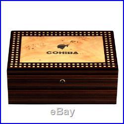 COHIBA Cigar Humidor Box Glossy Cedar Wood Cigars Csse With Hygrometer Humidifier