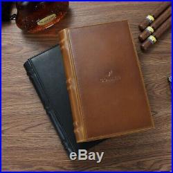 COHIBA Cigar Travel Case Leather Cedar Wood Cigar Humidor Box Portable Book