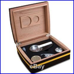 COHIBA Gloss Finish Black Cedar Wood Cigar Humidor Cigar Box Sets WithHygrometer