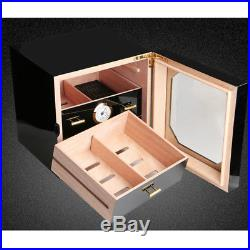 COHIBA Gloss Piano Finish Cedar Lined Cigar Cabinet Humidor 3 Drawers Black