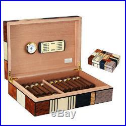 COHIBA Humidor Large Glossy Cigar Box Wooden Home Color Blocking Fit 50 Cigars