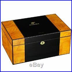 COHIBA Large Capacity Humidor Cigar Box Cedar Wood Cigar Case Glossy Piano